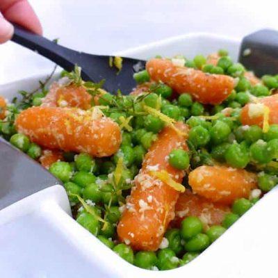 Овощной гарнир из моркови и горошка - рецепт с фото