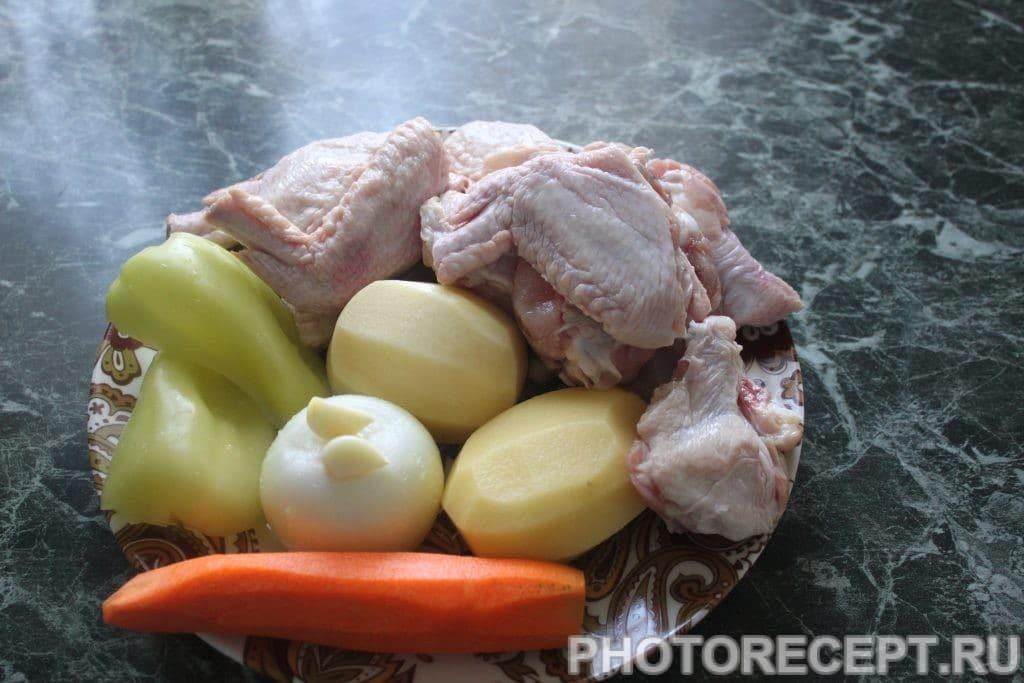 Фото рецепта - Куриные крылышки с овощами - шаг 1