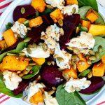 Теплый овощной салат из свеклы и тыквы с сыром