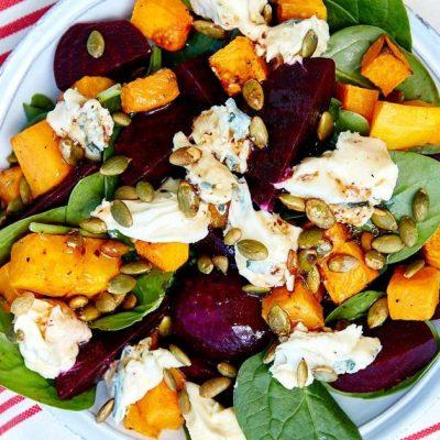 Теплый овощной салат из свеклы и тыквы с сыром - рецепт с фото