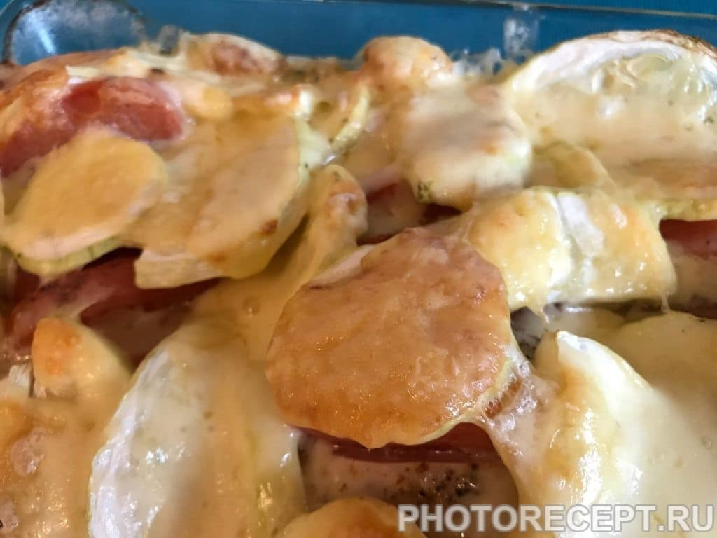 Фото рецепта - Сочная курочка с помидорами и кабачками в духовке - шаг 8