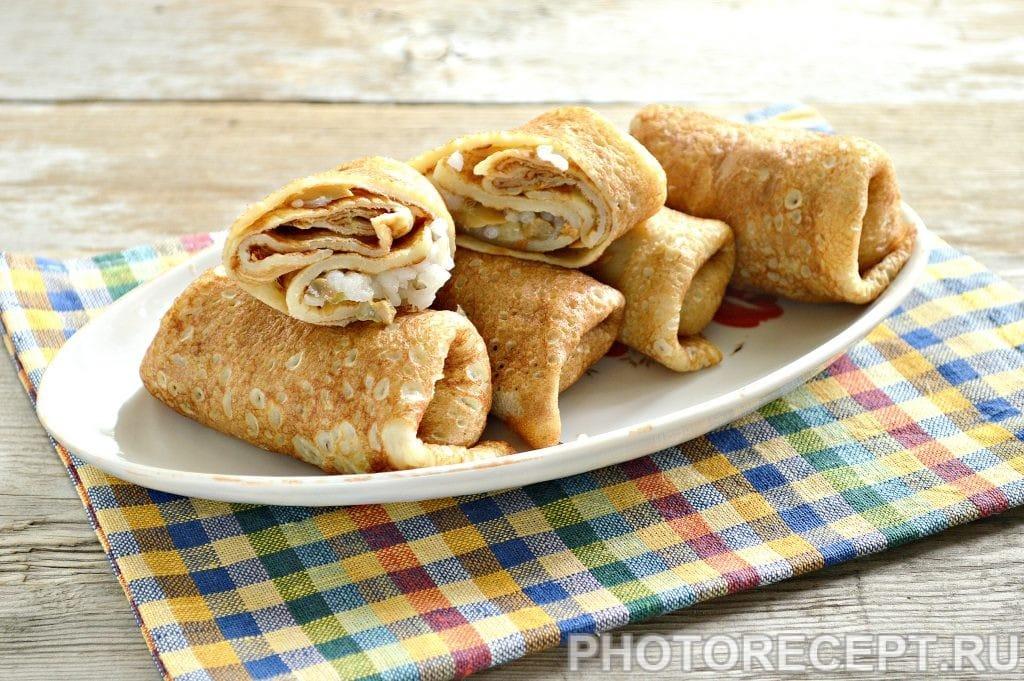 Фото рецепта - Вкусная начинка для блинов из риса и грибов - шаг 7