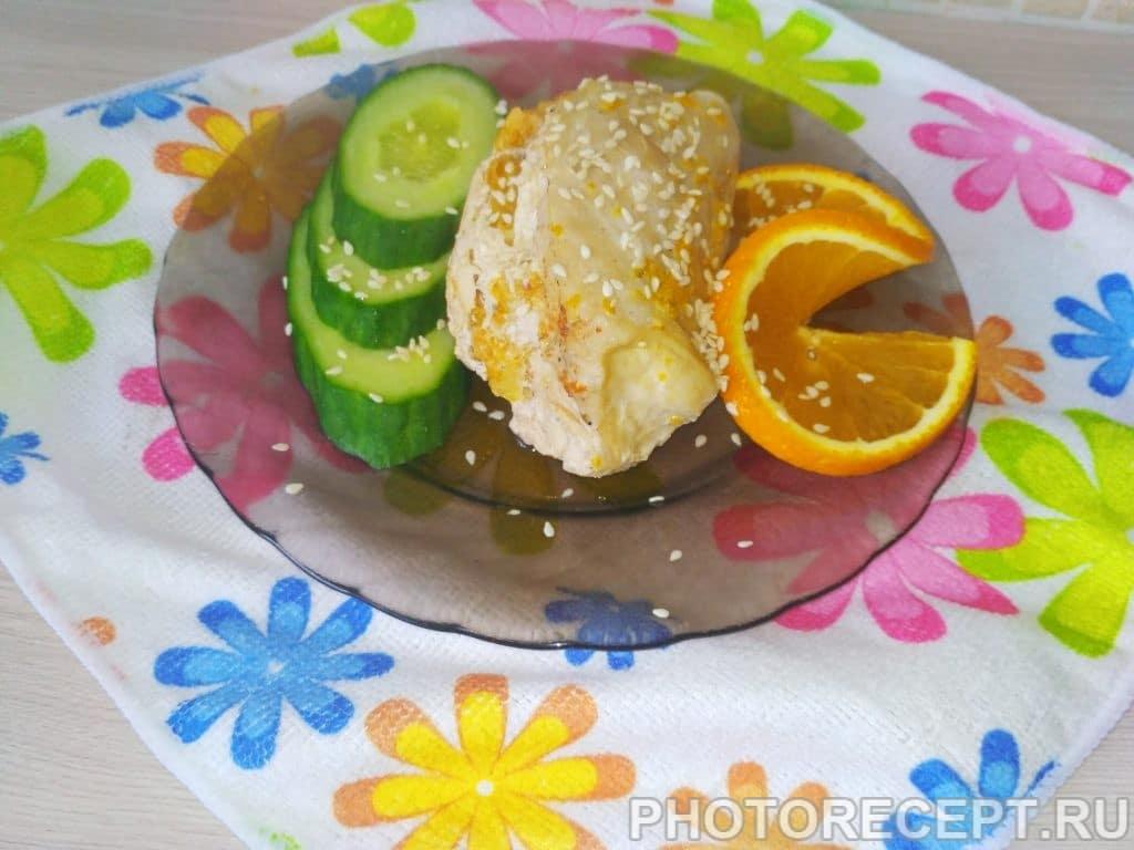 Фото рецепта - Куриная грудка, фаршированная апельсином в духовке - шаг 6