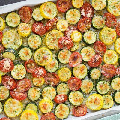 Легкий гарнир — овощи запеченные с сыром - рецепт с фото