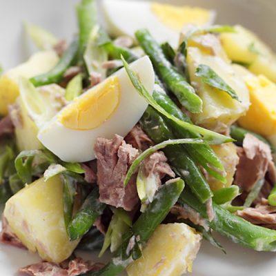 Сытный картофельный салат с фасолью и тунцом - рецепт с фото