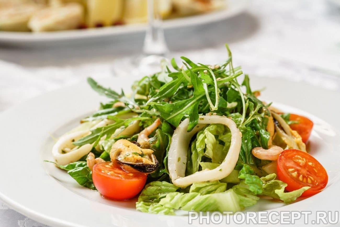 Рецепт салата из морепродуктов с фото пошагово