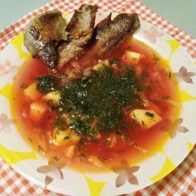 Борщ на бульоне из индейки со свежей капустой - рецепт с фото