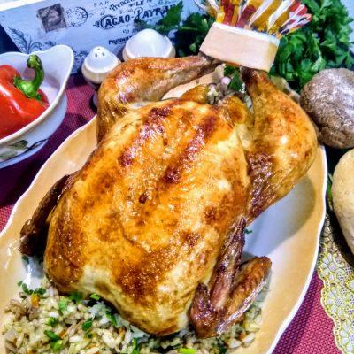 Курица фаршированная рисом в духовке - рецепт с фото
