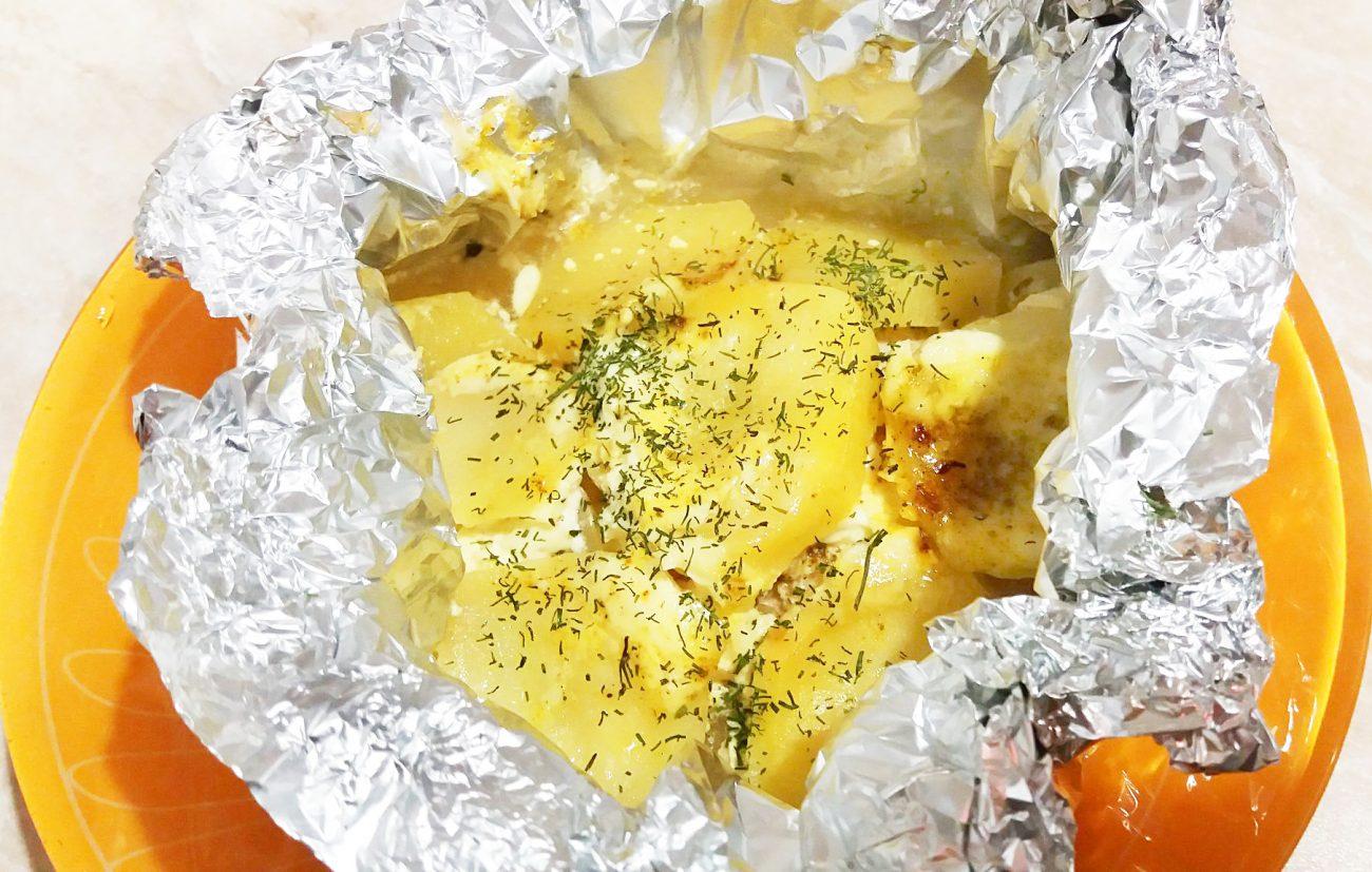 Филе индейки с картофелем, в фольге