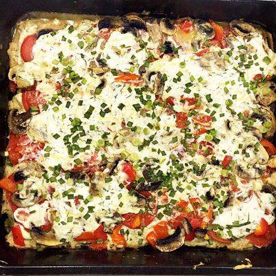 Запеканка-пицца с фаршем и грибами (без теста) - рецепт с фото