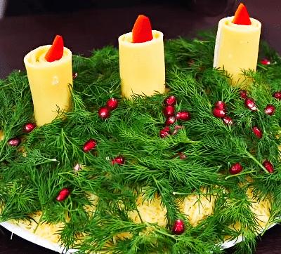 Слоеный салат с печенью, корейской морковью «Свеча на ветру» - рецепт с фото
