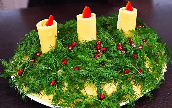 Слоеный салат с печенью, корейской морковью «Свеча на ветру»