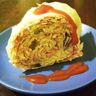 Лаваш с крабовыми палочками, сыром и маринованными грибами - рецепт с фото
