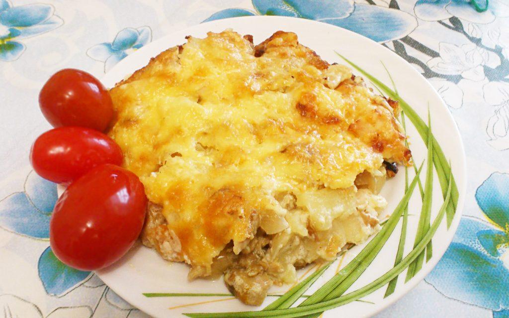 Фото рецепта - Картофельная запеканка по-деревенски с курицей и грибами - шаг 6