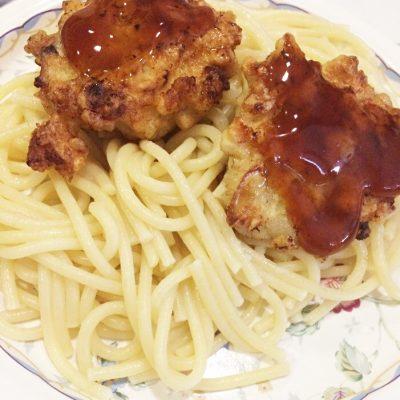 Рубленные котлетки из филе индейки со спагетти - рецепт с фото