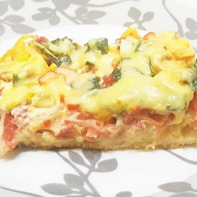 Пицца «Минутка» на сковороде с перцем и кукурузой - рецепт с фото