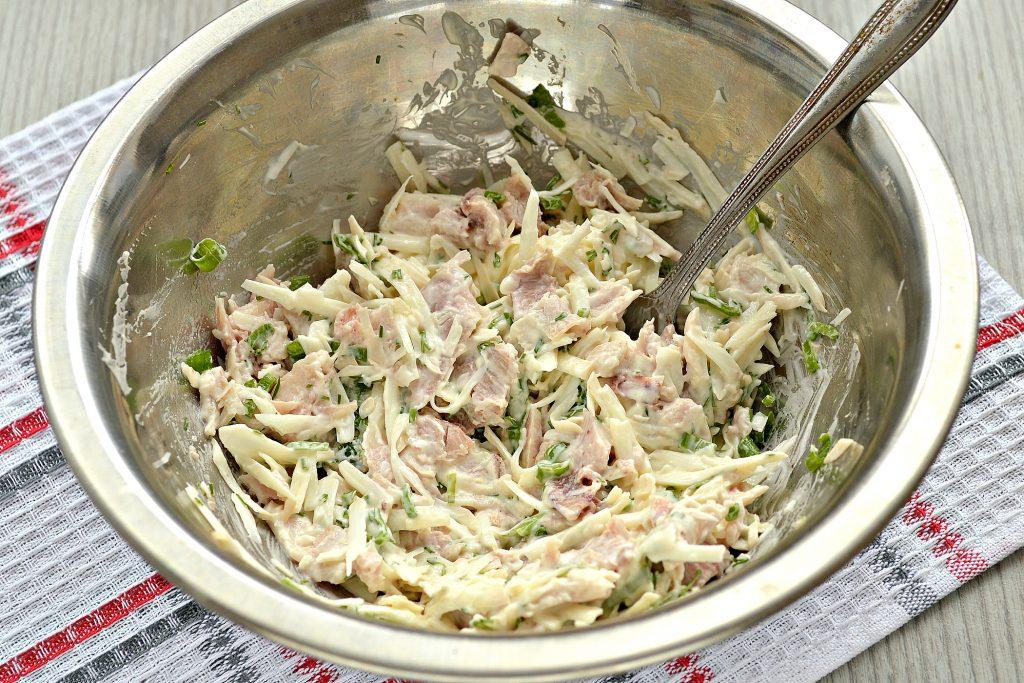 Фото рецепта - Блинчики, фаршированные сыром и курицей - шаг 5