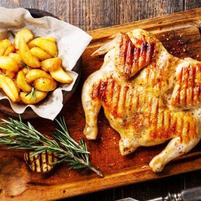 Маринованный цыпленок табака, на сковороде под прессом - рецепт с фото